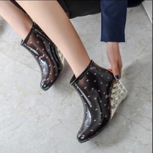 fashion womens Wedge heel warm Rain boots leopard waterproof ankle boots b169