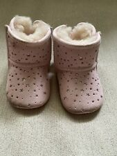 Pink Baby Uggs With Silver Detail And Bows - Size 0-1