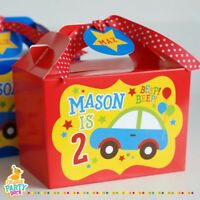Personalised Children Cars Car Red Blue Party Box Birthday Party Bag Lunch