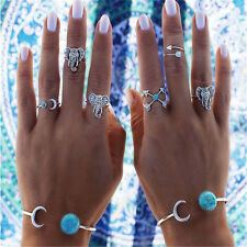 6 Pcs/set Fashion Bohemian Gypsy Turquoise Arrow Moon Statement Midi Rings Gift