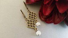 Bronze earrings, filigree, glass, leverback, dangle, fashion, handmade