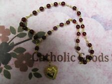 Precious Blood Chaplet (6 mm Round Red Glass twist bead) Gilt tone Medal