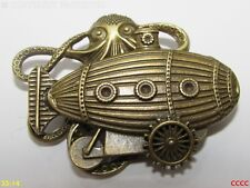 Steampunk pin badge brooch bronze kraken octopus dirigible submarine pilot