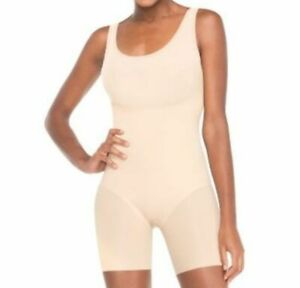 #za45 New Spanx Women's Trust Your Thinstincts Mid-Thigh Bodysuit $88 Nude Black