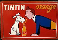 TINTIN arancione vintage con placca di metallo segno ARREDAMENTO PUB garage officina