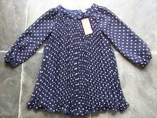 BNWT Girl's Navy & White Spots Sheer Polyester Long Sleeve Pleated Dress Size 3