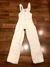 Vtg 70s 80s UAI White Womens 8 Ski Snow suit Bib pants MOD Nylon snowsuit SMALL