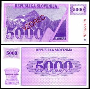 SLOVENIA 5000 TOLARJEV 1992 P 10 SPECIMEN UNC