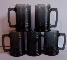 5 Black Glass Mugs Beer Steins