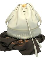 NEW, TOD'S CREAM LEATHER MEDIUM SECCIELLO BUCKET BAG WITH POUCH, $2250