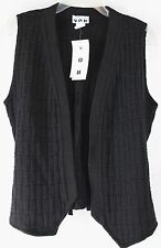 NWT VOII Women's Small Black Sleeveless Thin Knit Open Front Career Casual Vest