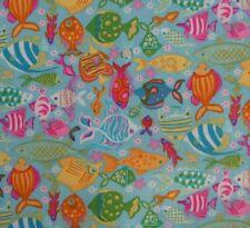 Mermaid Tropical Fish Aqua Colourful Fabric Patchwork Quilting Craft FQ or metre