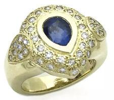 Cert. W/Dia 18K Yellow Gold Ring 2.17 Cts Ceylon Sapphire Unheated Med-Drk Blue