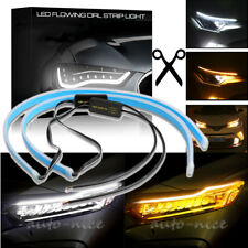 60cm LED Light Strips Switchback White Amber Sequential Flexible DRL Turn Signal