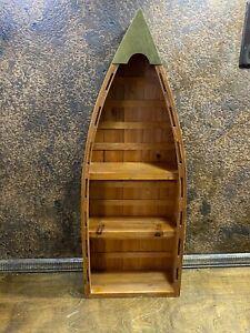 Vintage Wood CANOE WALL SHELF ~ Cabin Beach Nautical Curio Display