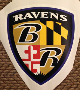 "Baltimore Ravens team SHIELD 9"" X 8"" NFL Team Logo Fathead Wall Graphics decal"
