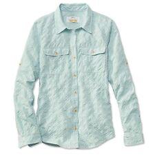 Orvis Trout Bum Women's Rainy Bridge Long Sleeve Sky Blue Button Up Shirt Large