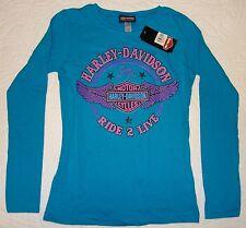 NEW MD Medium (7-8) Girls Harley Davidson Turquoise Cosmic Girl Long Sleeve