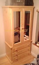 HANDMADE DEWSBURY 2 DOOR 3 DRAW WARDROBE WITH SHELFS & MIRRORS  (NO FLATPACK