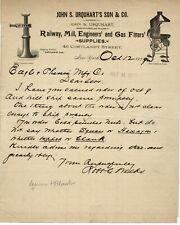 1899 JOHN S URQUHART RAILWAY MILL ENGINEERS GAS FITTERS SUPPLIES CORTLAND ST NYC