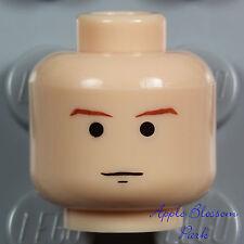 NEW Lego Male Boy LIGHT FLESH MINIFIG HEAD w/Brown Minifigure Eyebrow Hair Smile