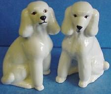 QUAIL CERAMIC WHITE POODLE DOG SALT & PEPPER POTS CRUET OR CONDIMENT SET