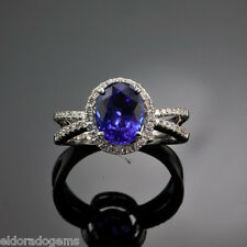 HIGH END RING! OVAL AAA TANZANITE & ROUND DIAMONDS 14K SOLID WHITE GOLD SIZE 6.5