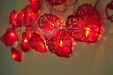 RED LOVE HEART RATTAN STRING FAIRY,DECORATION,BEDROOM TEEN GIRL,WEDDING LIGHTS