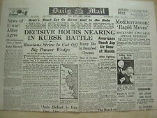 DAILY MAIL WWII NEWSPAPER JULY 10 1943 BATTLE OF KURSK
