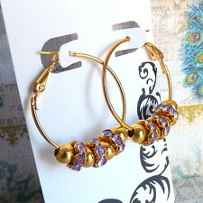 Gold Hoop Earrings Lavender Purple Crystal Beads Basketball Wives Inspired