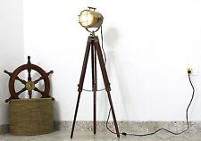 Marine Brass LED Searchlight E27 Floor Tripod Studio Focus LED Lamp Home Decor