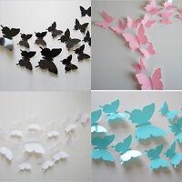 12Stk 3D Schmetterling Aufkleber Kunst Entwurf Abziehbild Wandtattoo DIY De A2V0