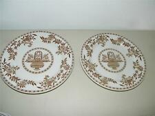 2 Vintage Sterling China USA Vitrified Brown Floral Dinner Plate 12561 M7