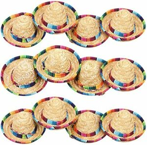 12 Pack Mini Mexican Hat Natural Straw Mini Fiesta Sombrero Party Decorations