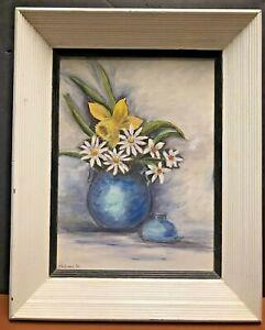 Mid Century PAINTING Floral Still Life Original Signed Framed