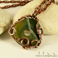 Natural Stone Donut Green Agate Crystal Copper Wire Wrap Handcrafted Pendant