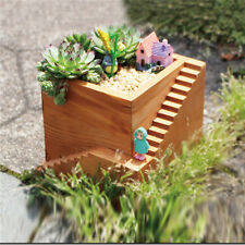 Creative Wooden Small Garden Succulent Plants Flower Bowl Pot with Stairs Craft