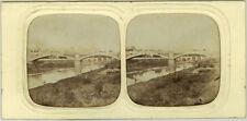Photo Stéréo Albuminé Tissu Paris Lyon en Train Pont de CharentonVers 1860