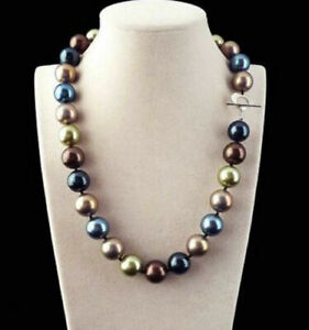Rare Huge 12mm Round Genuine Multicolor South Sea Shell Pearl Necklace AAA
