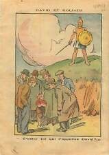 Caricature Politique David & Goliath Chomage Front Populaire 1937 ILLUSTRATION