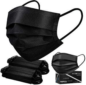 50/100 PCS Black Face Mask Mouth & Nose Protector Respirator Masks Best Seller