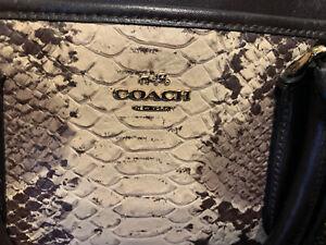 Authentic Coach Dark Brown Snakeskin Leather Crossbody Grab Medium To Large Bag
