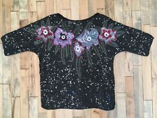 Vintage 80s Black Sequin Silk Top with Multicolored Flowers