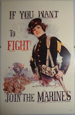 If you want To Fight, Join the Marines!  - by Howard Chandler Christy - Poster