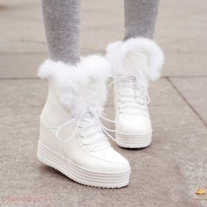 Hot Women Lace Up Fur Winter Platform Hidden Wedge Warm Snow Shoes Ankle Boots