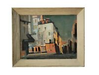 Helmut Summ Wisconsin Vintage Mid Century Modern Street Scene Paris Oil Painting