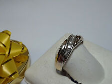 Classy 14Kt Gold band Ring #6330A .35cttw Gents 7 Natural Diamond diagonal 2Tone