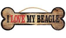 Pet Dog Sign - I Love My Beagle [NEW] Bone Shape Wood Wall House Puppy Poster