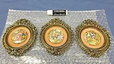 2851M Vtg 3 Small Italy Style Brass Frames w/Round Ceramic Pictures COURT COUPLE