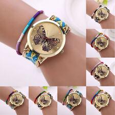 Women Girl Handmade Weaved Braided Butterfly Bracelet Dial Quarzt Watch Tide